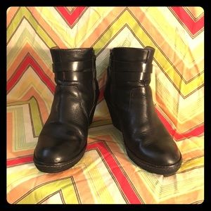 Sofft Black Wedge Leather Booties
